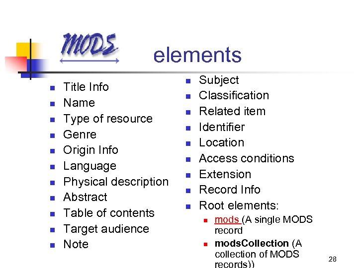 elements n n n Title Info Name Type of resource Genre Origin Info Language