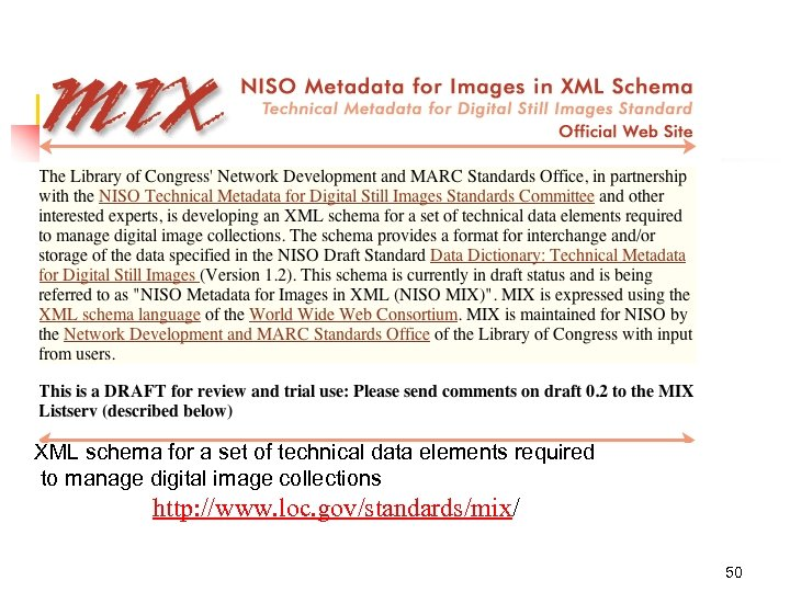 XML schema for a set of technical data elements required to manage digital image