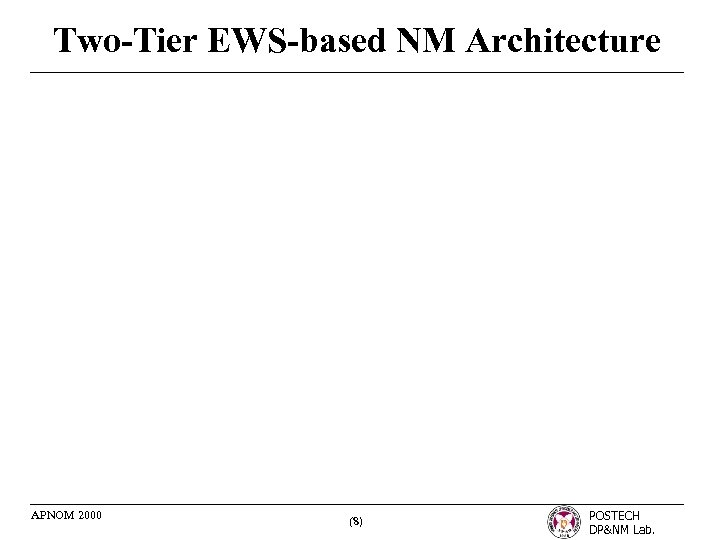 Two-Tier EWS-based NM Architecture APNOM 2000 (8) POSTECH DP&NM Lab.