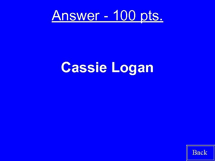 Answer - 100 pts. Cassie Logan Back