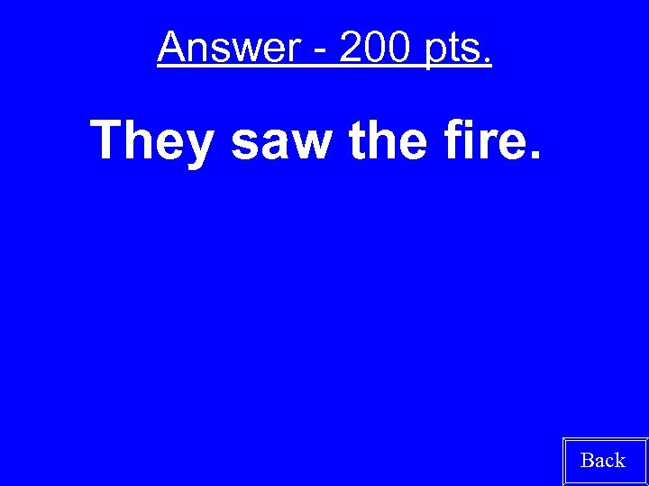 Answer - 200 pts. They saw the fire. Back