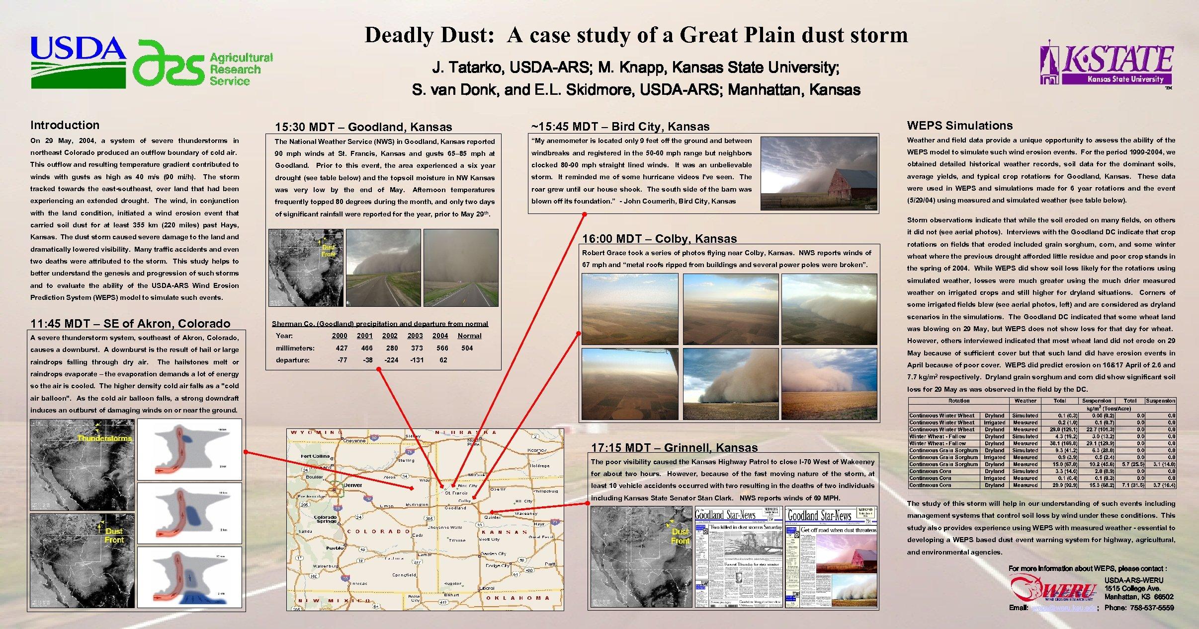 Deadly Dust: A case study of a Great Plain dust storm J. Tatarko, USDA-ARS;
