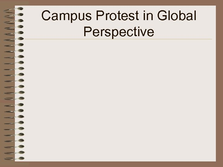 Campus Protest in Global Perspective