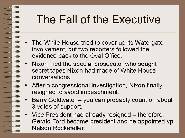 The Fall of the Executive • The White House tried to cover up its