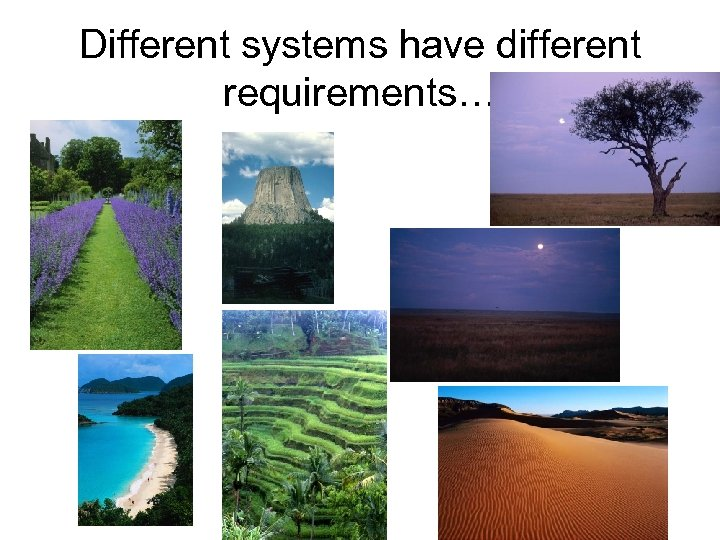 Different systems have different requirements…