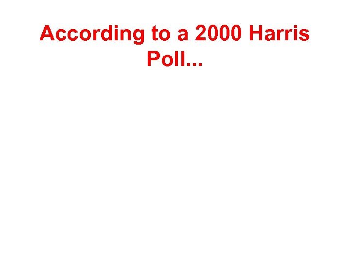 According to a 2000 Harris Poll. . .