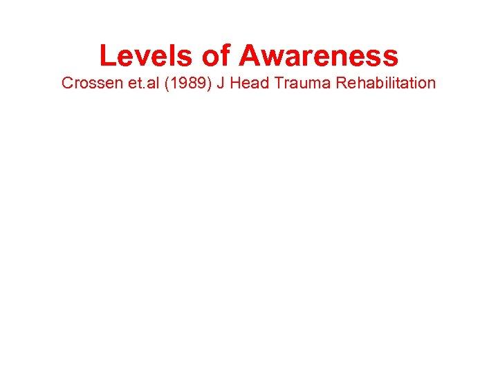 Levels of Awareness Crossen et. al (1989) J Head Trauma Rehabilitation