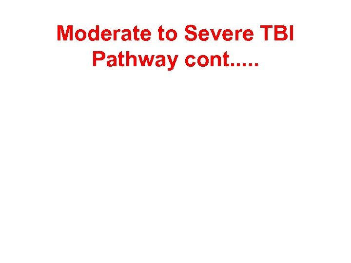 Moderate to Severe TBI Pathway cont. . .