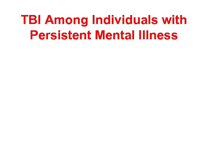TBI Among Individuals with Persistent Mental Illness