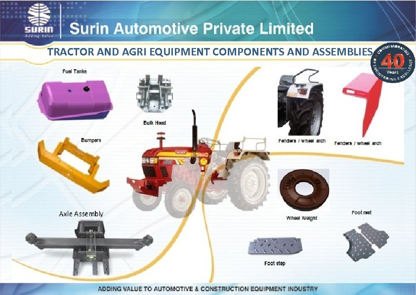 TRACTOR AND AGRI EQUIPMENT COMPONENTS AND ASSEMBLIES
