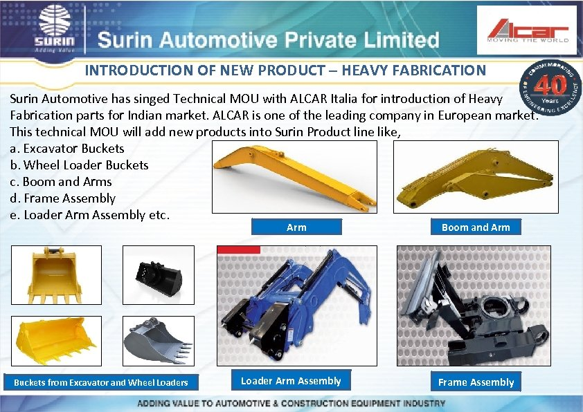 INTRODUCTION OF NEW PRODUCT – HEAVY FABRICATION Surin Automotive has singed Technical MOU with