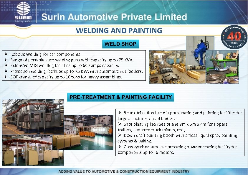 WELDING AND PAINTING WELD SHOP Ø Robotic Welding for car components. Ø Range of