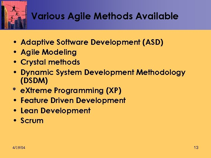 Various Agile Methods Available • • * • • • Adaptive Software Development (ASD)