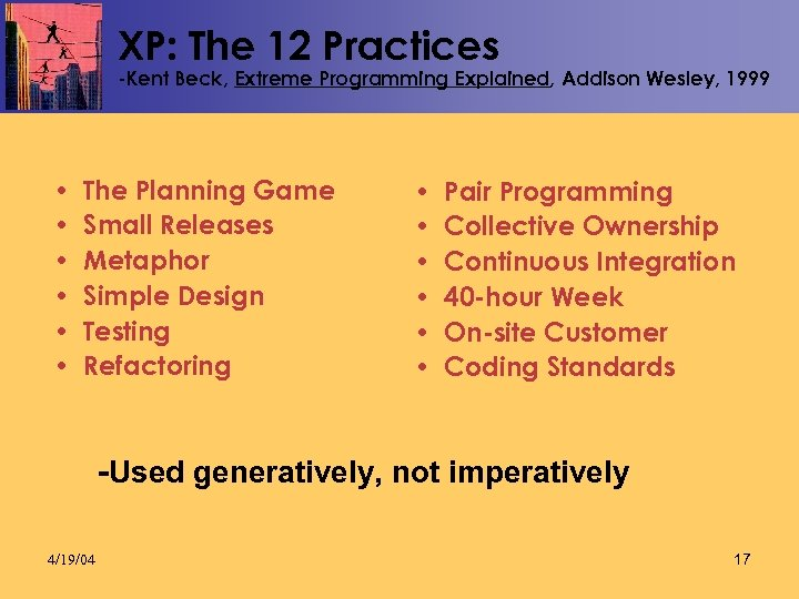 XP: The 12 Practices -Kent Beck, Extreme Programming Explained, Addison Wesley, 1999 • •