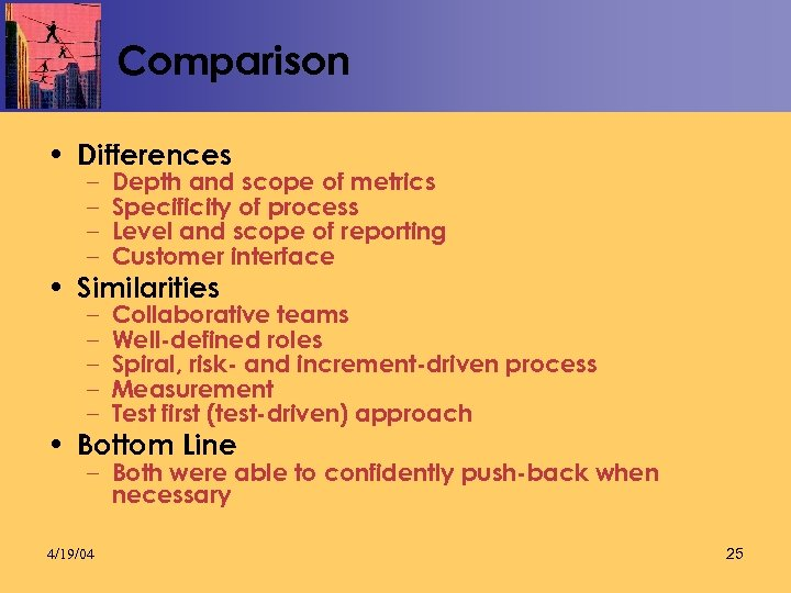 Comparison • Differences – – Depth and scope of metrics Specificity of process Level