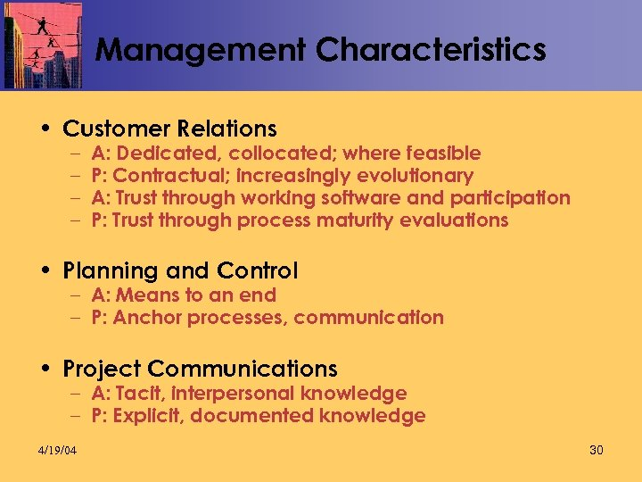 Management Characteristics • Customer Relations – – A: Dedicated, collocated; where feasible P: Contractual;