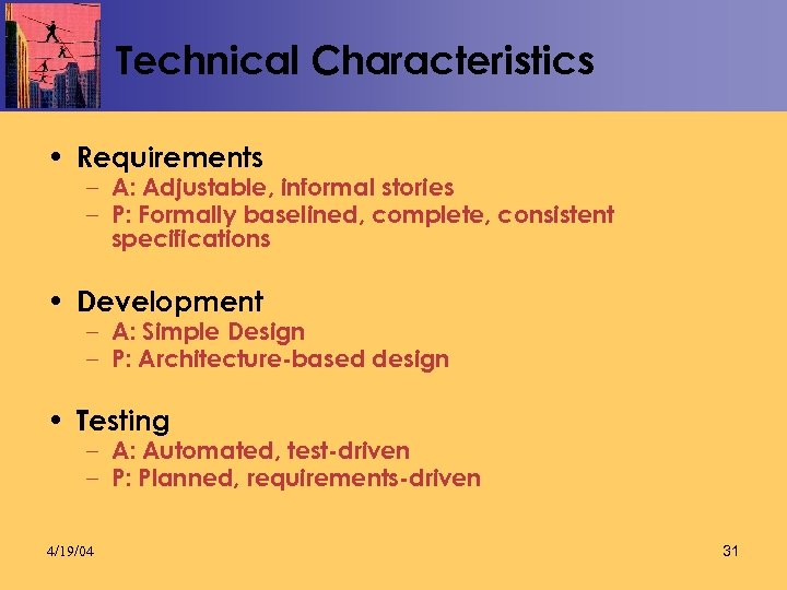 Technical Characteristics • Requirements – A: Adjustable, informal stories – P: Formally baselined, complete,