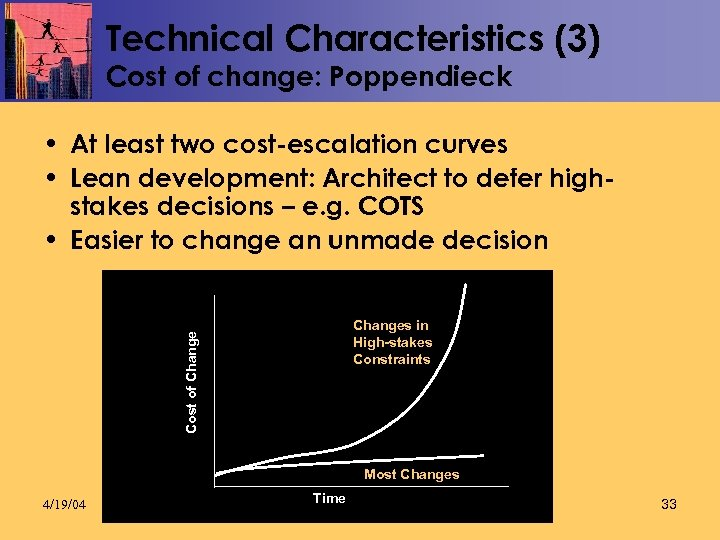 Technical Characteristics (3) Cost of change: Poppendieck • At least two cost-escalation curves •