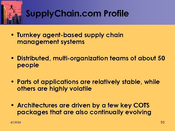 Supply. Chain. com Profile • Turnkey agent-based supply chain management systems • Distributed, multi-organization