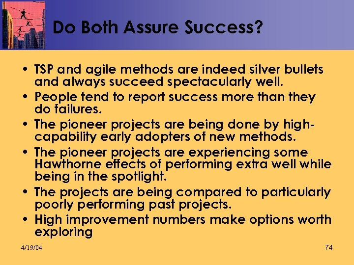 Do Both Assure Success? • TSP and agile methods are indeed silver bullets and