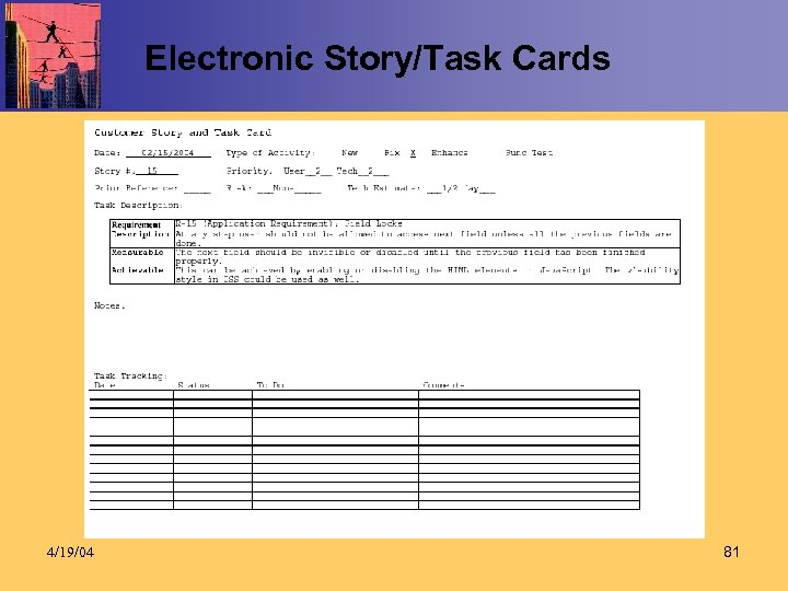Electronic Story/Task Cards 4/19/04 81