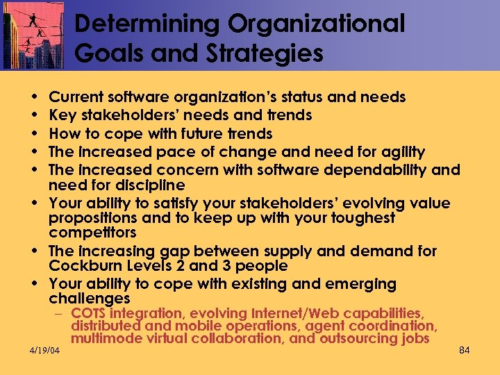 Determining Organizational Goals and Strategies • • • Current software organization's status and needs