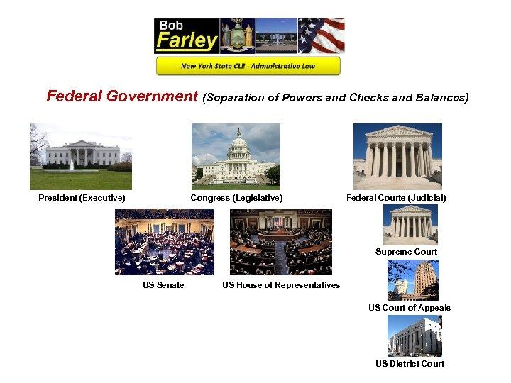 Federal Government (Separation of Powers and Checks and Balances) President (Executive) Congress (Legislative) Federal