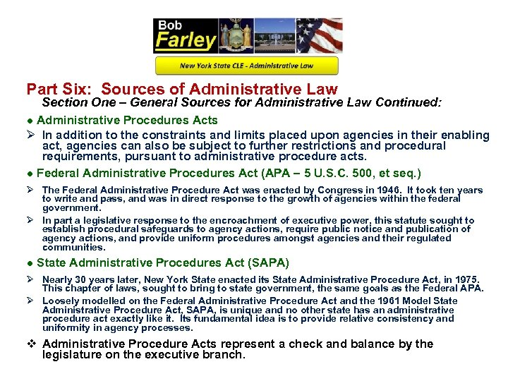 Part Six: Sources of Administrative Law Section One – General Sources for Administrative Law