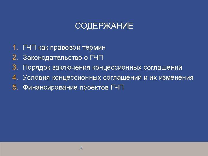 СОДЕРЖАНИЕ 1. 2. 3. 4. 5. ГЧП как правовой термин Законодательство о ГЧП Порядок