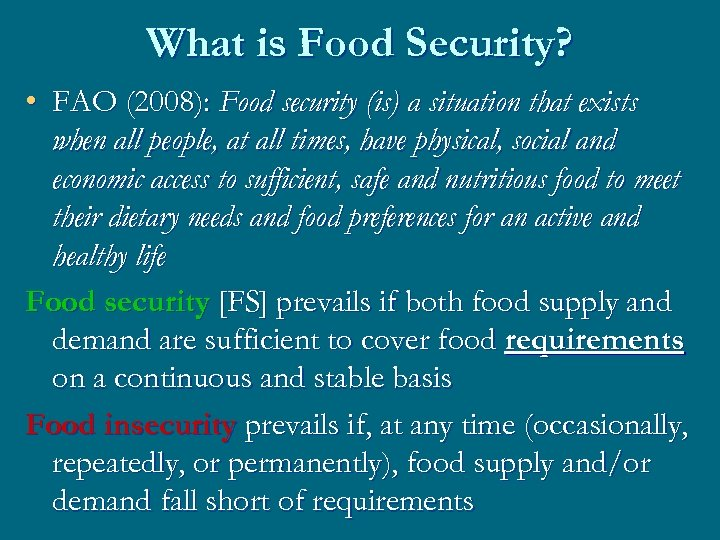 food security concepts and issues The second section discusses general policy concepts related to food security and how food security stocks may fit into that policy framework the third section.