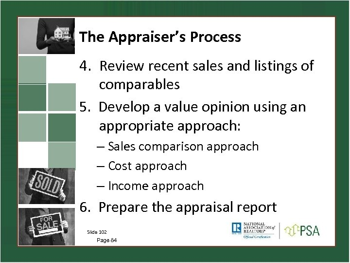 The Appraiser's Process 4. Review recent sales and listings of comparables 5. Develop a