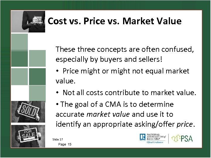 Cost vs. Price vs. Market Value These three concepts are often confused, especially by