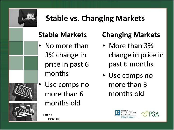 Stable vs. Changing Markets Stable Markets • No more than 3% change in price
