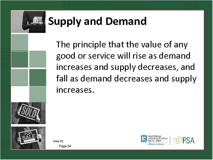 Supply and Demand The principle that the value of any good or service will