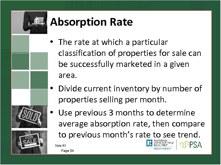 Absorption Rate • The rate at which a particular classification of properties for sale