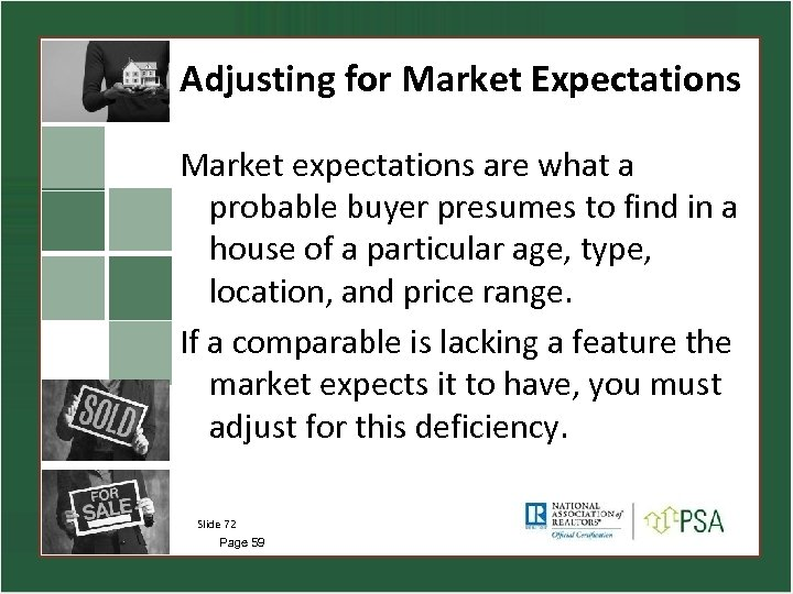 Adjusting for Market Expectations Market expectations are what a probable buyer presumes to find