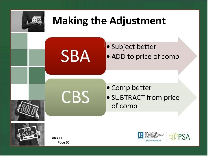 Making the Adjustment SBA • Subject better • ADD to price of comp CBS