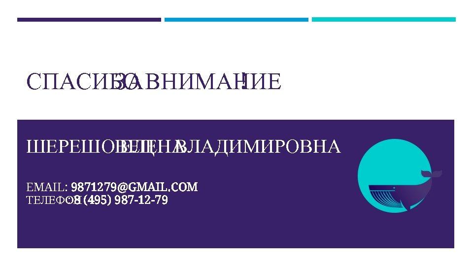 СПАСИБО ВНИМАНИЕ ЗА ! ШЕРЕШОВЕЦ ВЛАДИМИРОВНА ЕЛЕНА EMAIL: 9871279@GMAIL. COM ТЕЛЕФОН (495) 987 -12