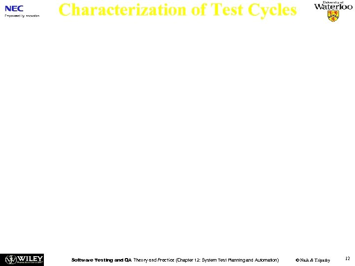 Characterization of Test Cycles Each test cycle is characterized by a set of six