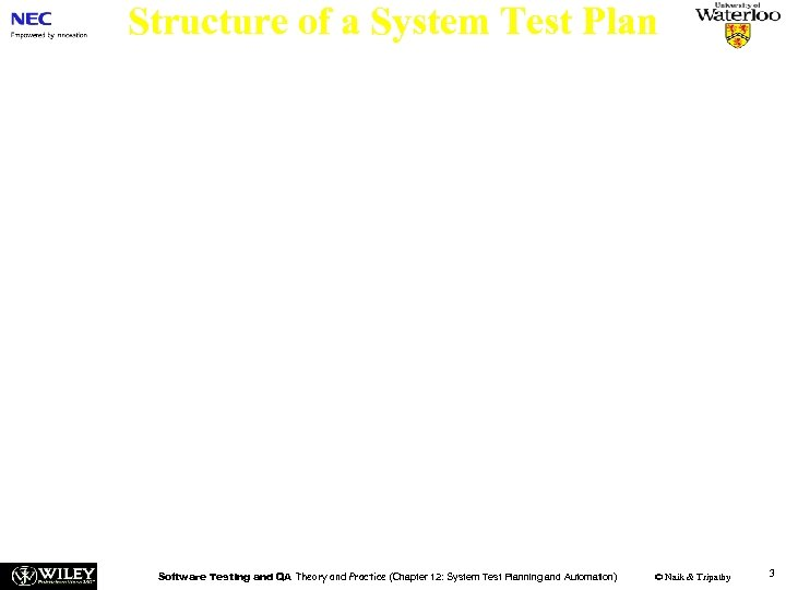 Structure of a System Test Plan The purpose of a system test plan is