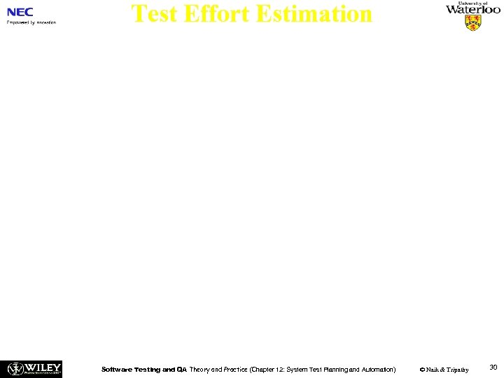 Test Effort Estimation Two major components: n The number of test cases created by