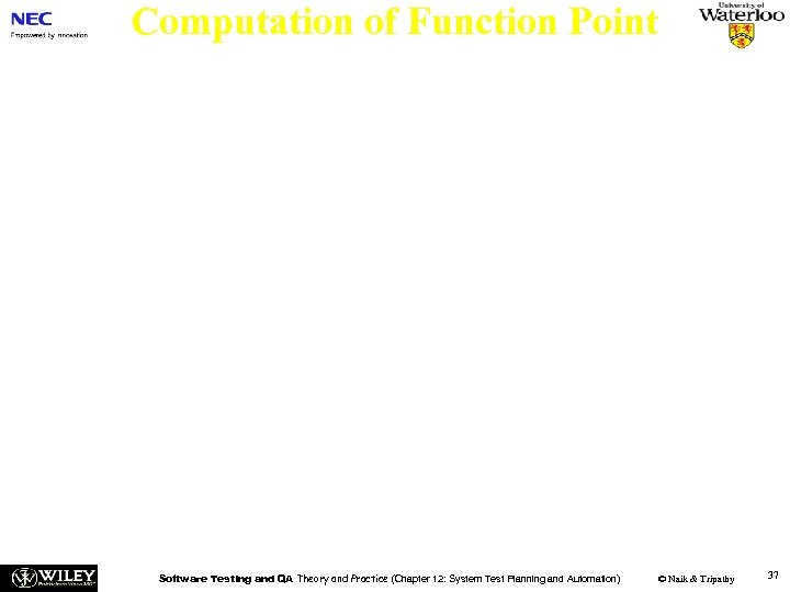 Computation of Function Point n Step 4: Compute the function points (FP) of a