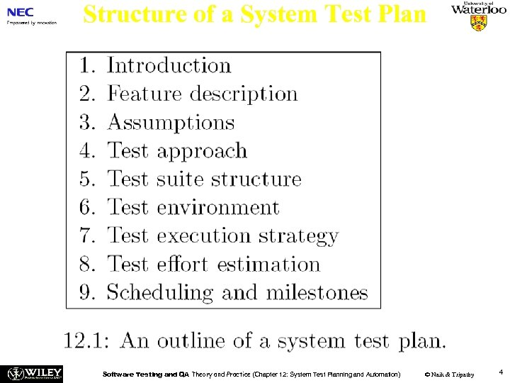 Structure of a System Test Plan Software Testing and QA Theory and Practice (Chapter