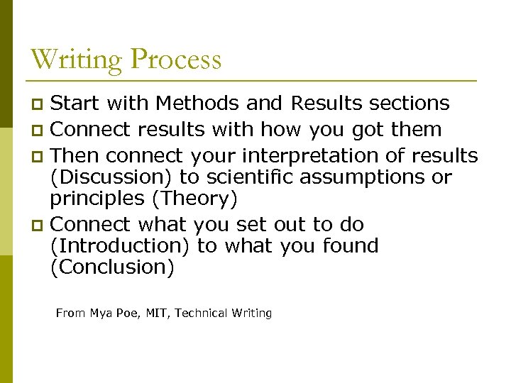 Writing Process Start with Methods and Results sections p Connect results with how you