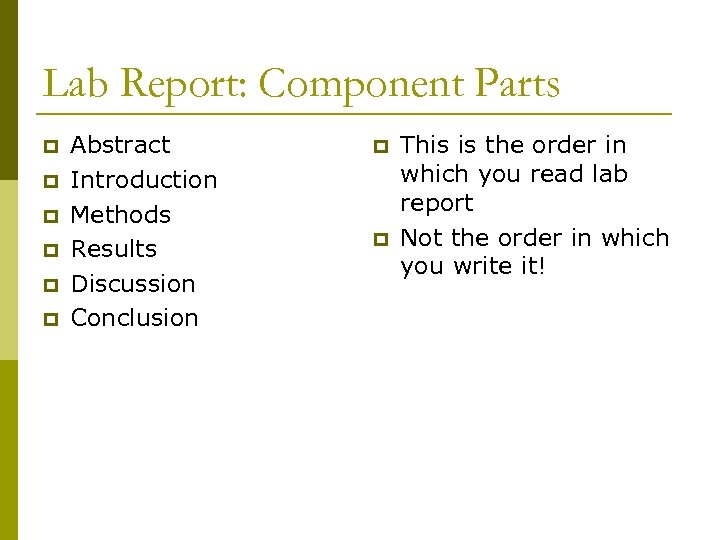 Lab Report: Component Parts p p p Abstract Introduction Methods Results Discussion Conclusion p