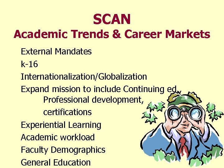 SCAN Academic Trends & Career Markets External Mandates k-16 Internationalization/Globalization Expand mission to include