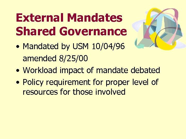External Mandates Shared Governance • Mandated by USM 10/04/96 amended 8/25/00 • Workload impact
