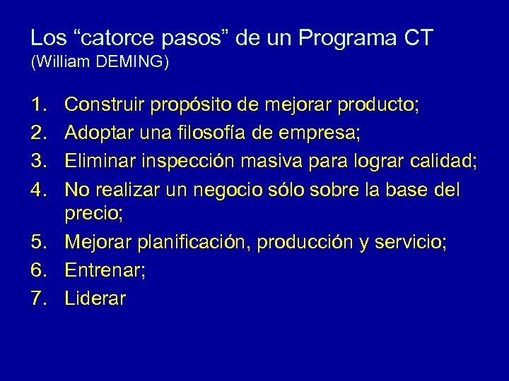 """Los """"catorce pasos"""" de un Programa CT (William DEMING) 1. 2. 3. 4. Construir"""