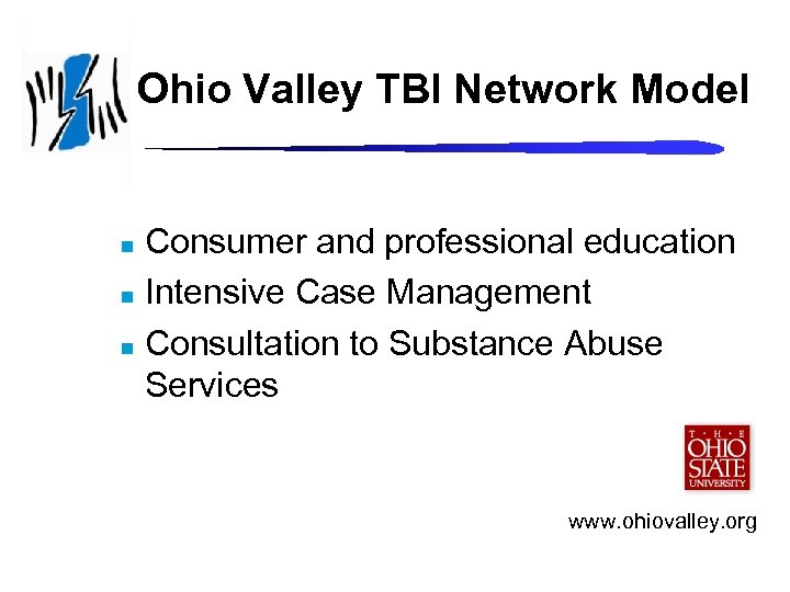 Ohio Valley TBI Network Model Consumer and professional education n Intensive Case Management n