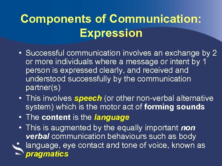 Components of Communication: Expression • Successful communication involves an exchange by 2 or more